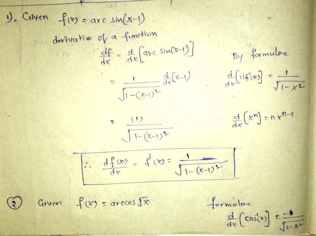 derivative a-fimeMon ry By formule X-1 ャ (3) Given , f(x):arccos,fx for