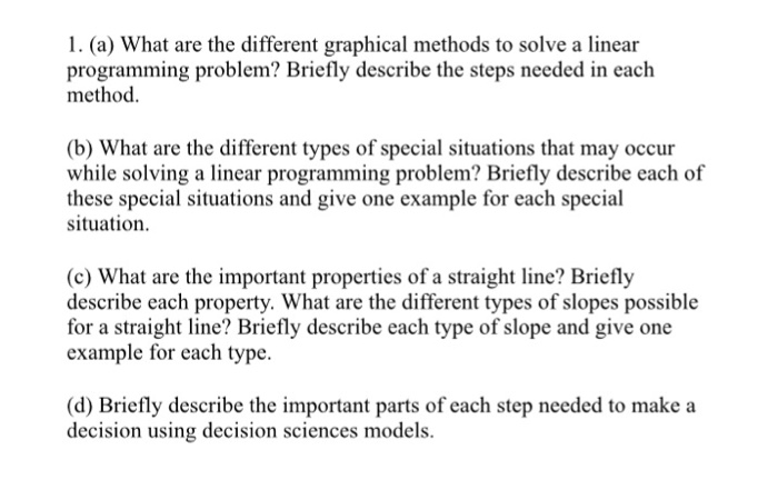 Solved: 1  (a) What Are The Different Graphical Methods To