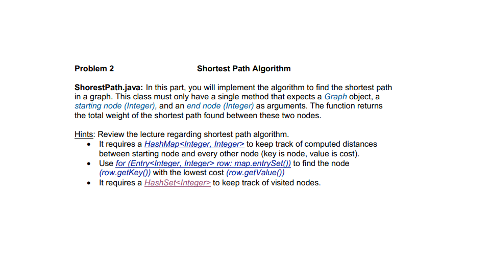 Solved: Problem 2 Shortest Path Algorithm ShorestPath java