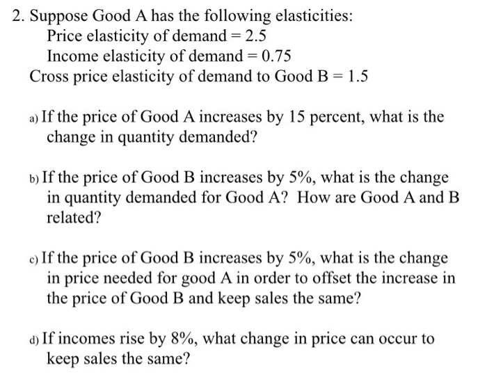 Solved Suppose Good A Has The Following Elasticities Pri