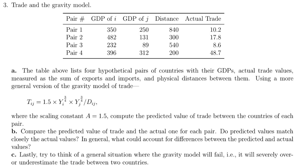 solved 3 trade and the gravity model pair pair 1 air p