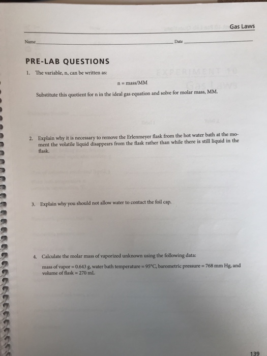 Solved: Gas Laws Name - Date PRE-LAB QUESTIONS 1  Differen