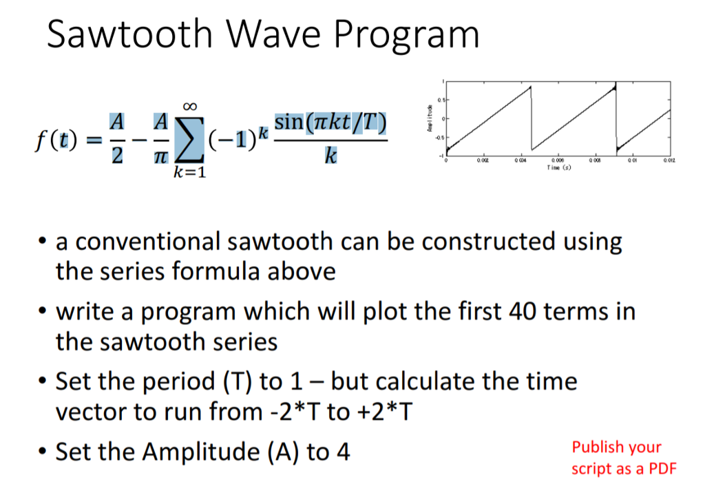 Solved How To Plot Sawtooth Wave In Matlab I Need To Plo