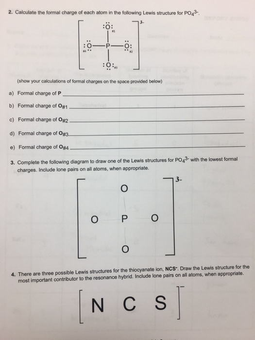 Solved 2 calculate the formal charge of each atom in the calculate the formal charge of each atom in the following lewis structure for po43 ccuart Image collections