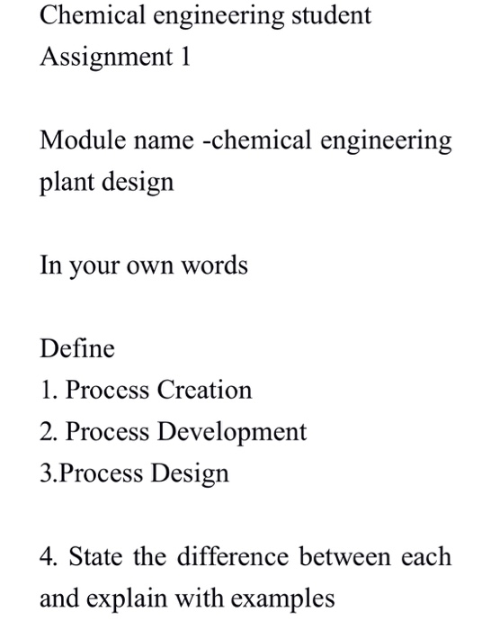Solved Chemical Engineering Student Assignment 1 Module N Chegg Com