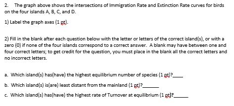 2. The graph above shows the intersections of Immigration Rate and Extinction Rate curves for bird on the four islands A, B, C, and D. 1) Label the graph axes (1 pt) 2) Fill in the blank after each question below with the letter or letters of the correct island s), or with a zero (0) if none of the four islands correspond to a correct answer. A blank may have between one and four correct letters, to get credit for the question, you must place in the blank all the correct letters and no incorrect letters. a. Which island(s) has(have) the highest equilibrium number of species (1 pt)? b. Which island s) is(are) least distant from the mainland (1 pt)? c. Which islands) has(have) the highest rate of Turnover at equilibrium (1 pt)?