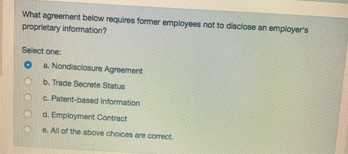 Solved What Agreement Below Requires Former Employees Not