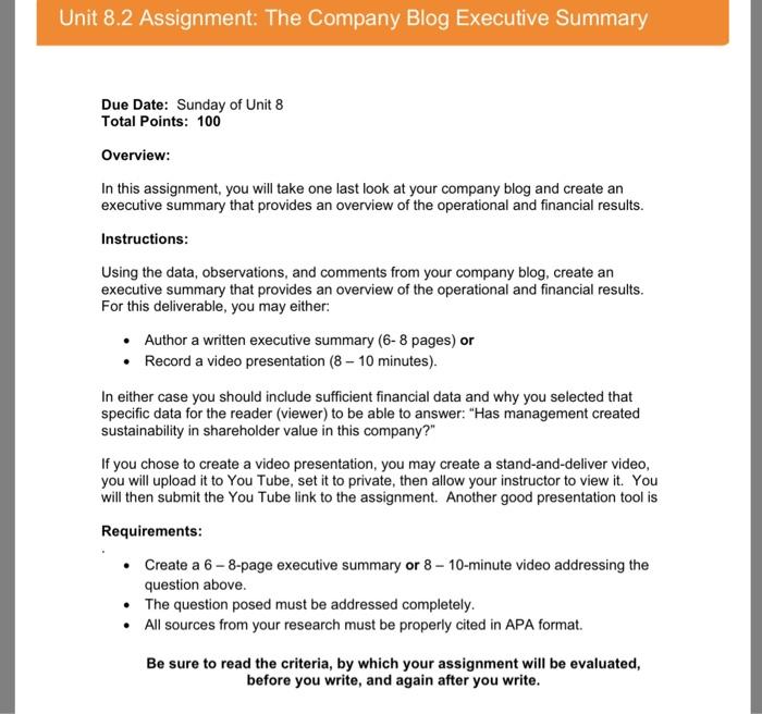 Unit 8 2 Assignment: The Company Blog Executive Su