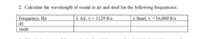 Solved: 2  Calculate The Wavelength Of Sound In Air And St