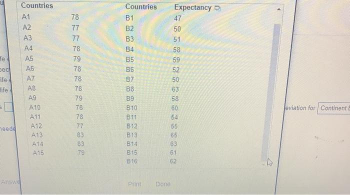 Countries Expectancy Countries A1 78 B1 47 A2 77 B2 50 A3 77 B3 51 A4 78 B4 58 A5 fe 79 B5 59 A6 78 ec B6 52 A7 78 87 ife 50