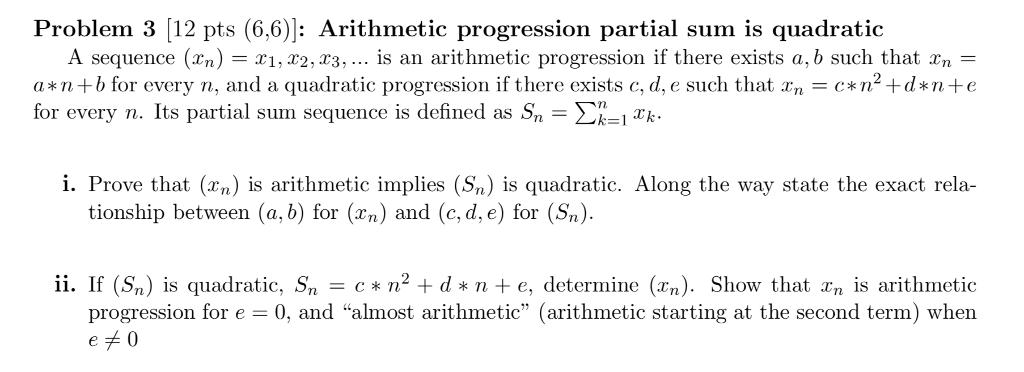Solved: Problem 3 [12 Pts (6,6)]: Arithmetic Progression P