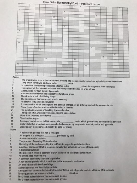 Chem 100 Biochemistry Food Crossword Puzzle The Organization Level Structure Of Proteins Into Regular