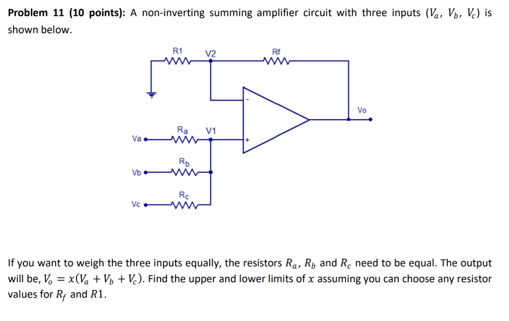 Summing Amplifier Circuit Diagram | Solved Problem 11 10 Point A Non Inverting Summing Amp