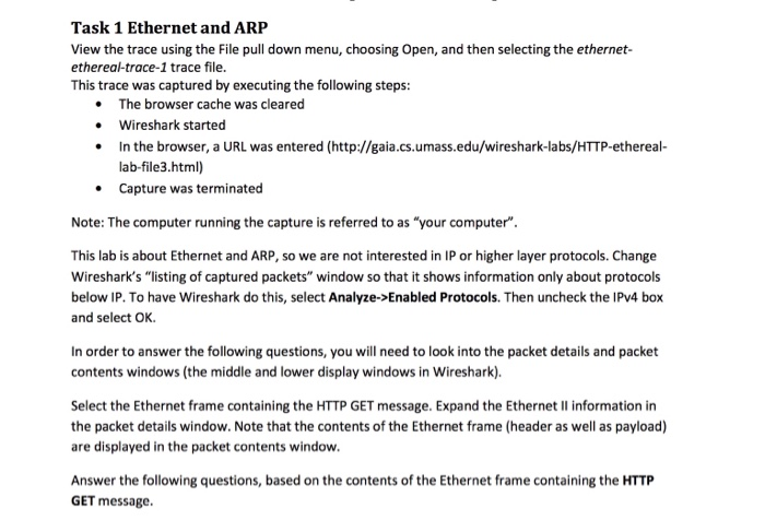 Solved: Task 1 Ethernet And ARP View The Trace Using The F
