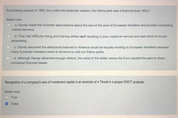 Eurodisney Opened In 1992 But Unlike The American Version Theme Park Was A