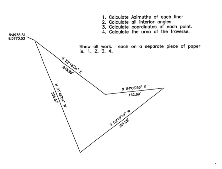 Solved: 1, Calculate Azimuths Of Each Line 2  Calculate Al