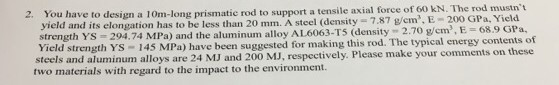 to support a tensile axial force of 60 kN. The rod mustnt 2. You have to design a 10m-long prismatic rod yield and its elongation has to be less than 20 mm. A steel (density 7.87 g/em. E 200 GPa, Yic strength YS-294.74 MPa) and the aluminum alloy AL6063-T5 (density 2.70 g/cm), E = Yield strength YS 145 MPa) have been suggested for making this rod. The typical energy contents of steels and aluminum alloys are 24 MJ and 200 MJ, respectively. Please make your comments on these two materials with regard to the impact to the environment.