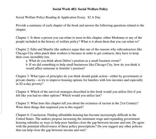Social Work  Social Welfare Policy Social Welf  Cheggcom Question Social Work  Social Welfare Policy Social Welfare Policy  Reading  Application Essay S A Da