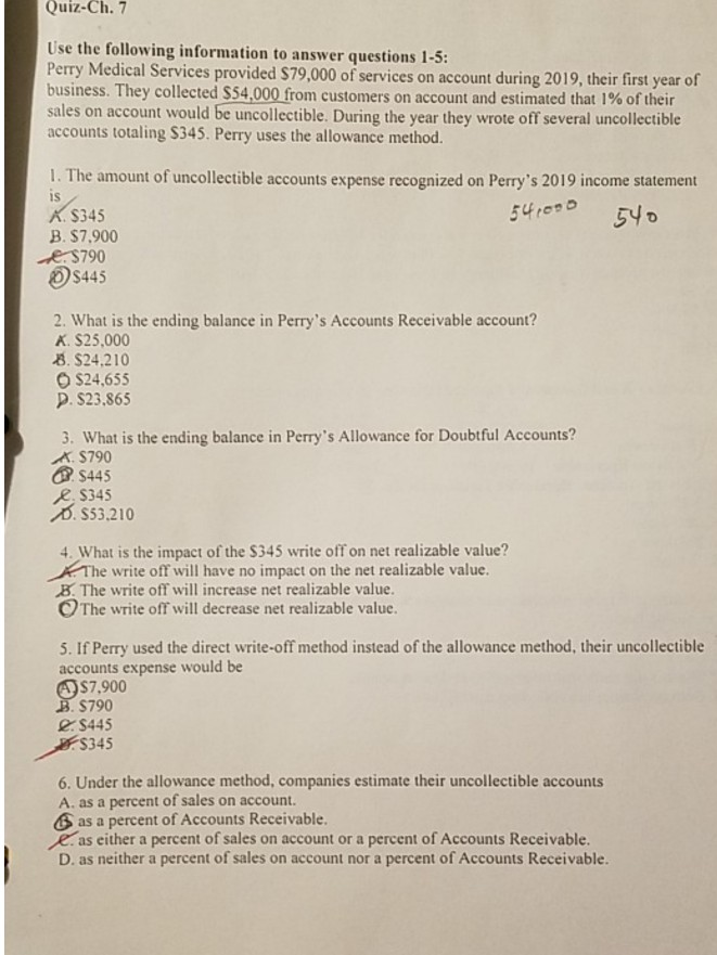 Solved: Quiz-Ch 7 Use The Following Information To Answer
