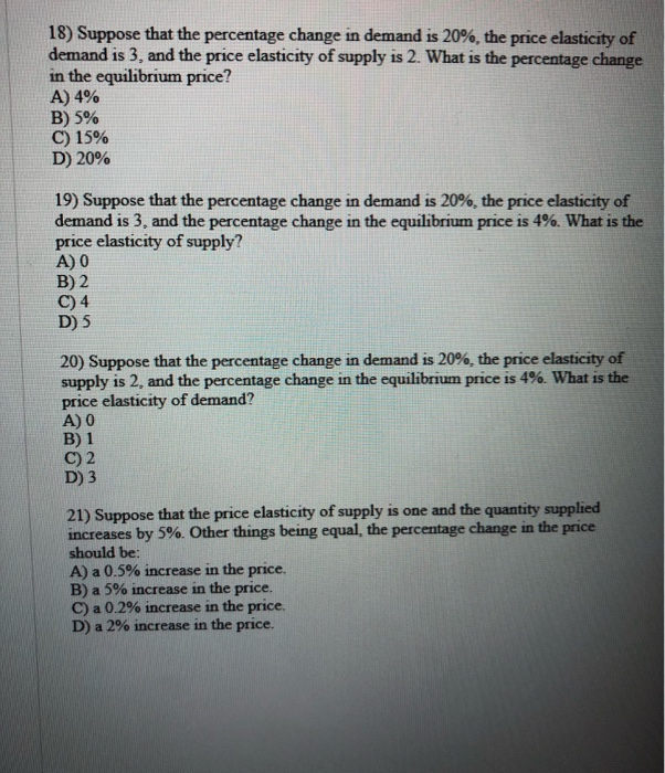 Solved 18 Suppose That The Percentage Change In Demand I