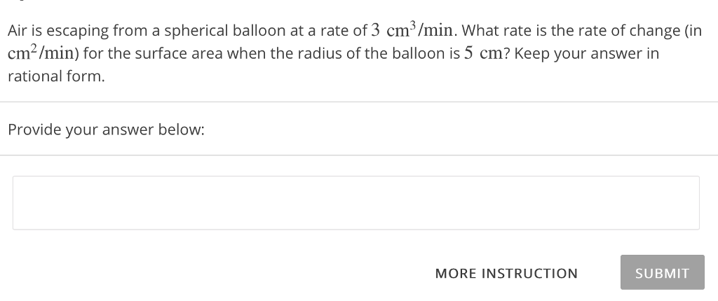solved air is escaping from a spherical balloon at a rate