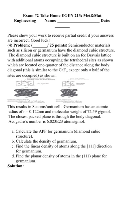 Solved: Exam #2 Take Home EGEN 213: Met& Mat Engineering N