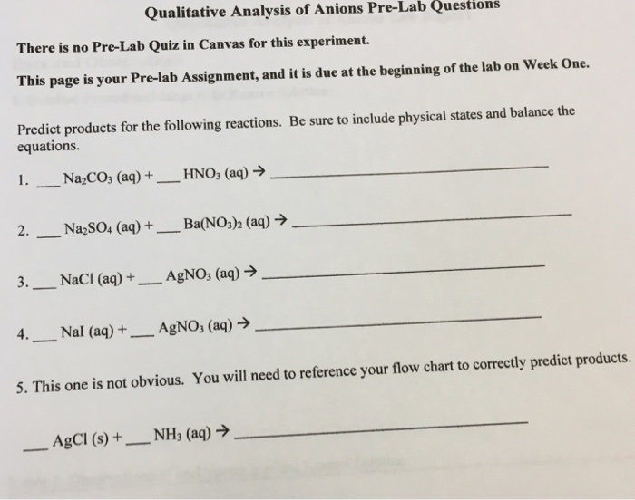 Solved Qualitative Analysis Of Anions Pre Lab Questions T