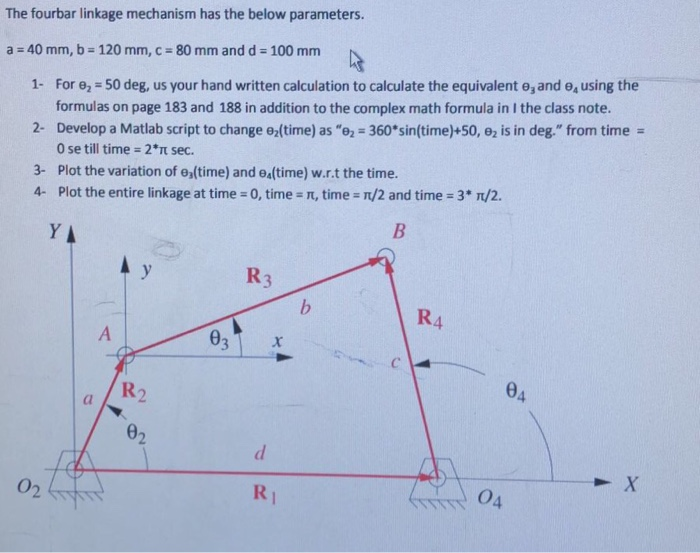 Solved: The Fourbar Linkage Mechanism Has The Below Parame