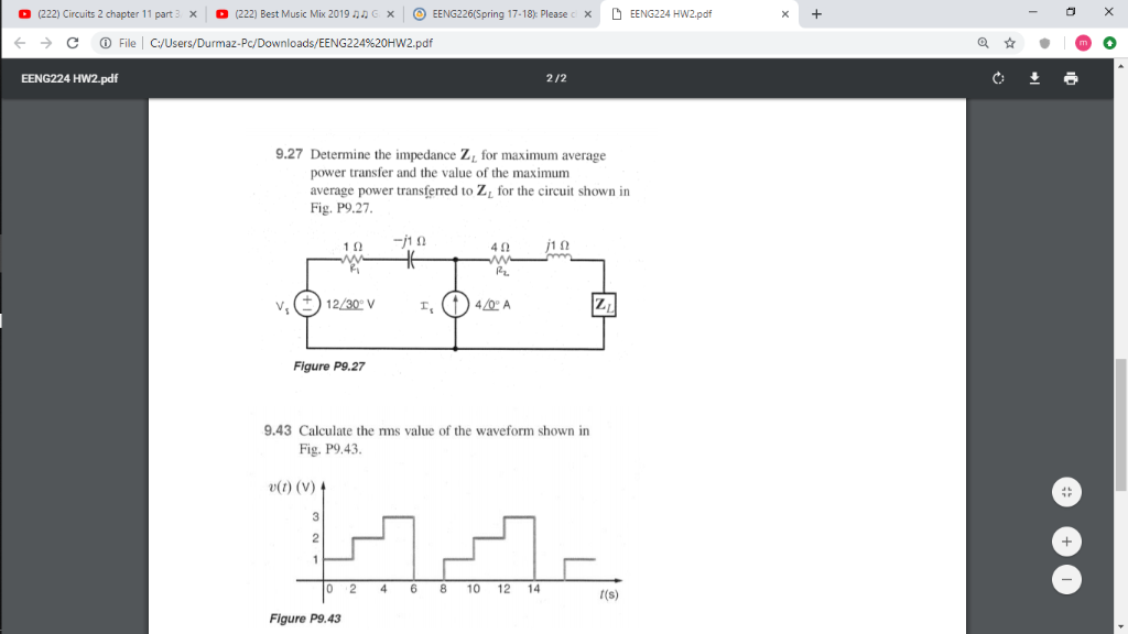Solved: 0 (222) Circuits 2 Chapter 11 Part 3 。 (222) Best