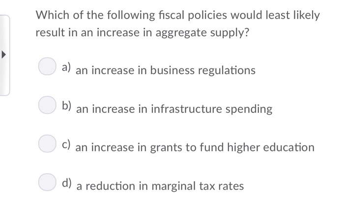 Solved: Which Of The Following Fiscal Policies Would Least ...