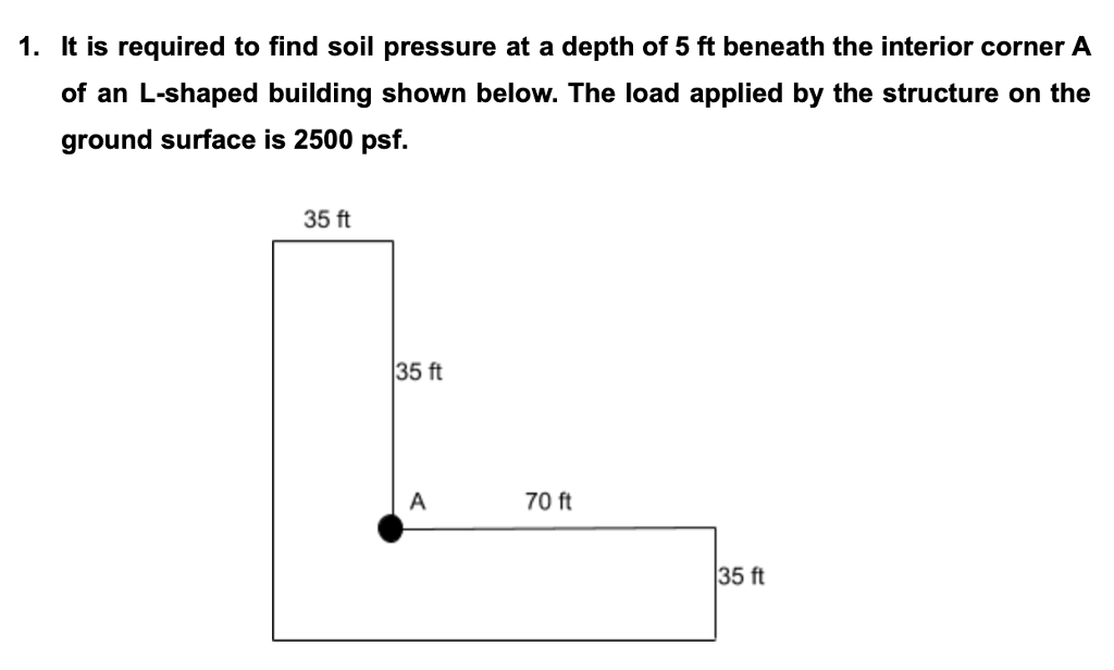 1. It is required to find soil pressure at a depth of 5 ft beneath the interior corner A of an L-shaped building shown below. The load applied by the structure on the ground surface is 2500 psf. 35 ft 35 ft 70 ft 35 ft