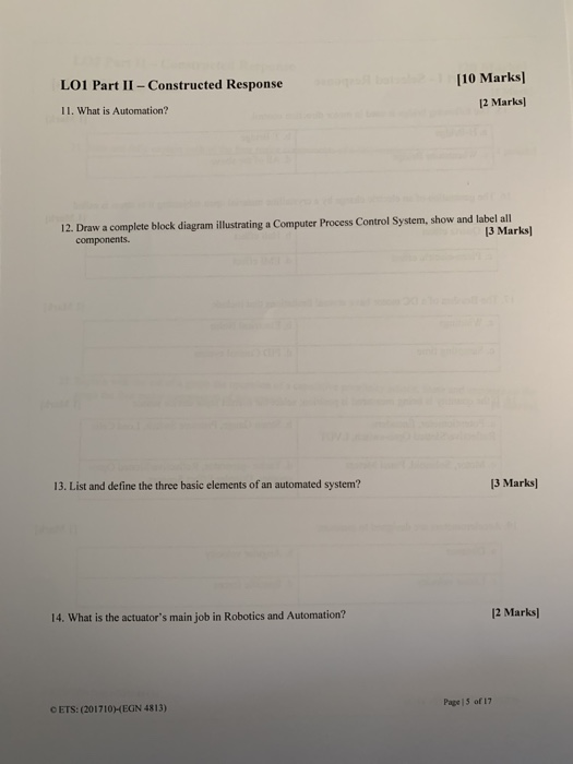 Solved: [10 Marks] LO1 Part I - Selected Response 1 Mark 1
