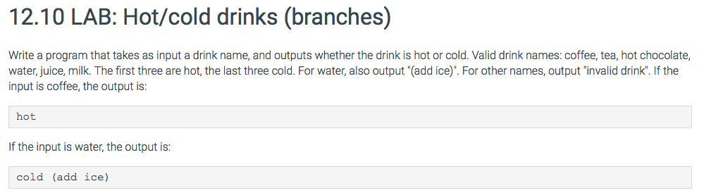 Solved: 12 10 LAB: Hot/cold Drinks (branches) Write A Prog
