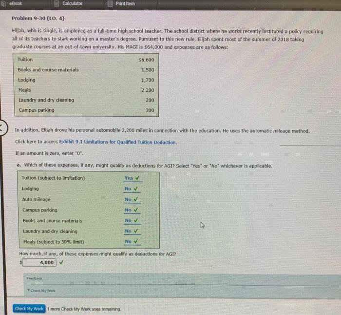 solved ebook calculator print item problem 9 30 lo 4 e