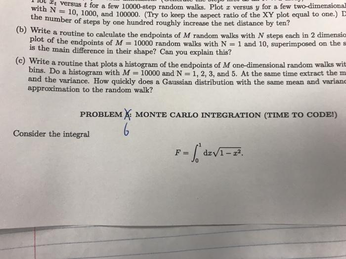 Solved: Please Do The Monte Carlo Integration Problem  Ple