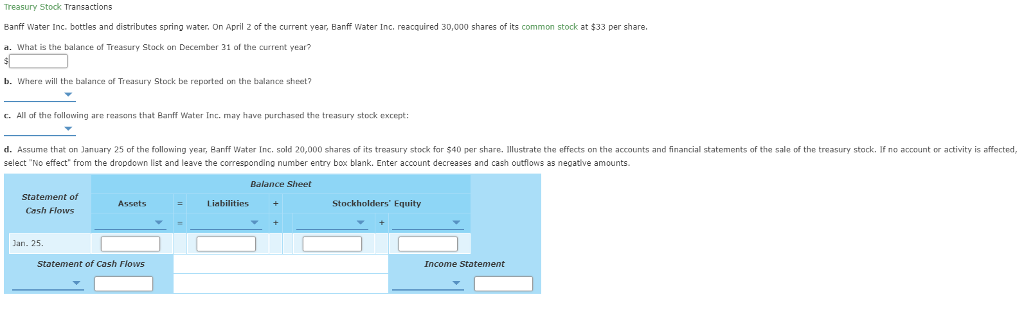 Solved: Treasury Stock Transactions Banff Water Inc  Bottl