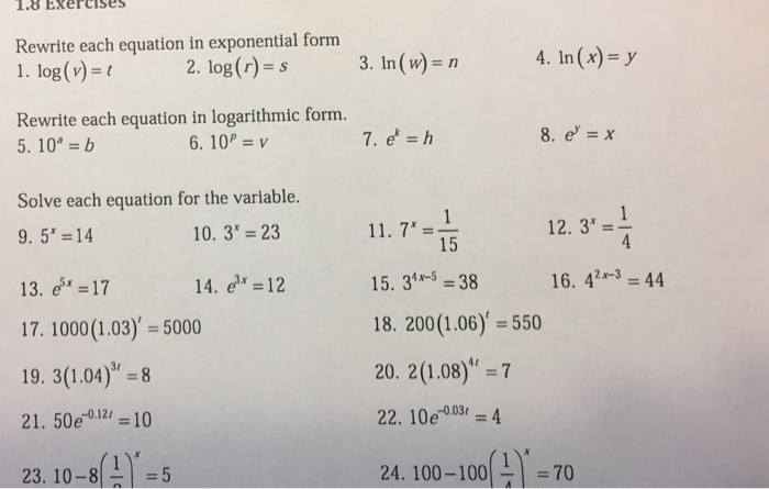 Solved: 1.8 EXercises Rewrite Each Equation In Exponential ...
