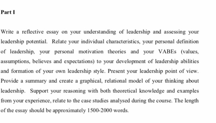 Argumentative Essay Thesis Part I Write A Reflective Essay On Your Understanding Of Leadership And  Assessing Your Leadership Potential Essay Writing Business also Essay Research Paper Solved Part I Write A Reflective Essay On Your Understand  Importance Of English Essay
