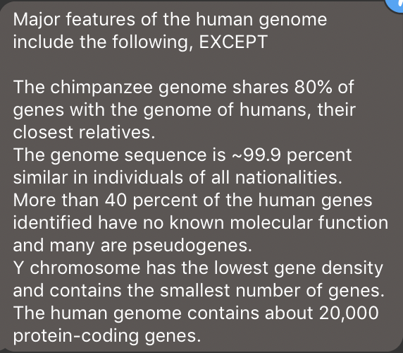 Genes Can Have Up To 80 Percent >> Solved Major Features Of The Human Genome Include The Fol