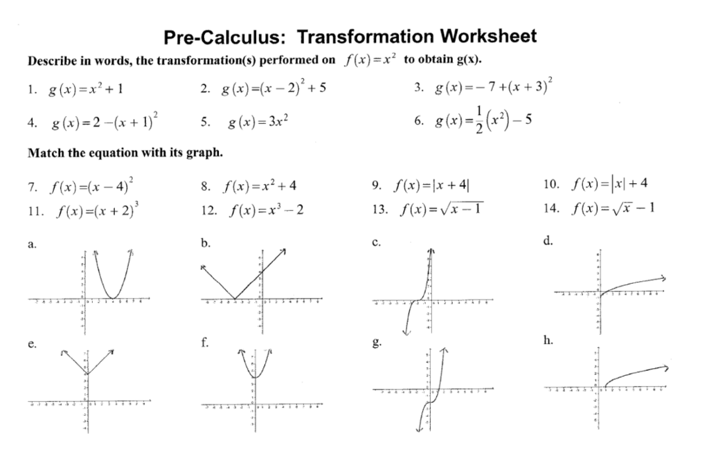 Solved Pre Calculus Transformation Worksheet Describe In