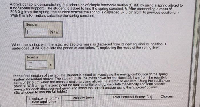 physics lab report on oscillation measurement of springs