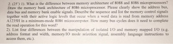Solved: 2  (25) 1)  What Is The Difference Between Memory