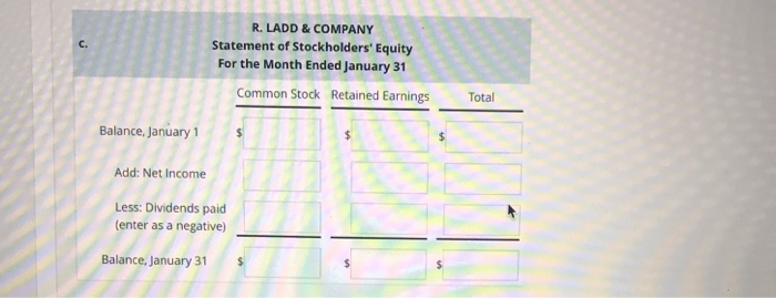 R. LADD& COMPANY Statement of Stockholders Equity For the Month Ended January 31 C. Common Stock Retained Earnings Total Bal
