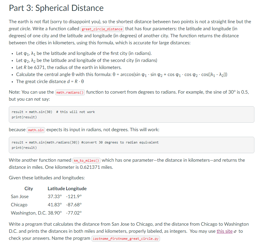 Solved: Part 3: Spherical Distance The Earth Is Not Flat