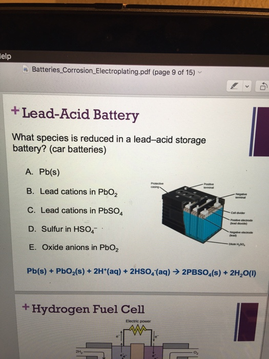 Solved: What Species Is Reduced In A Lead-acid Storage Bat