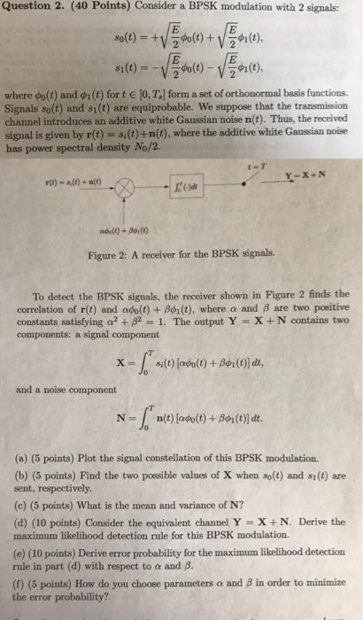 Solved Question 2 40 Points Consider A Bpsk Modulation