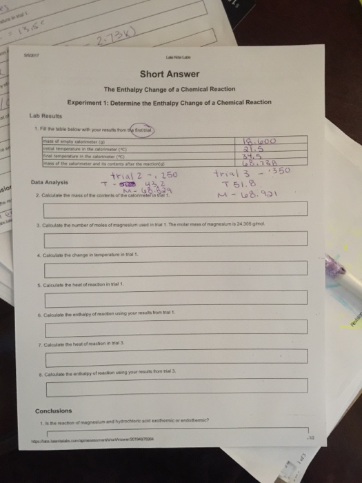 Solved: Experiment 1: Determine The Enthalpy Change Of A C