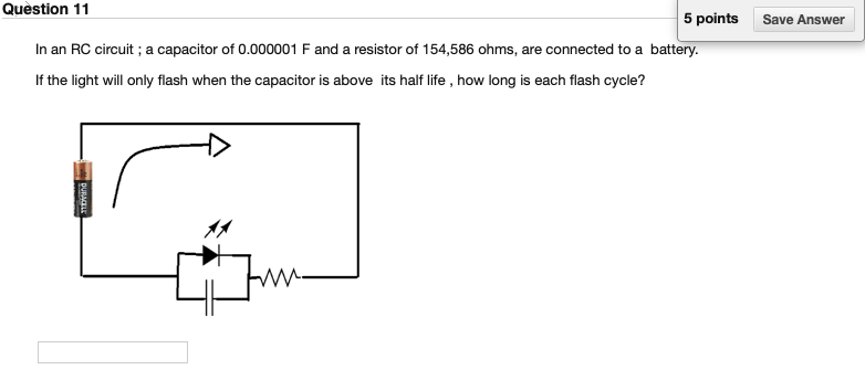 Solved: Question 11 5 Points Save Answer In An RC Circuit