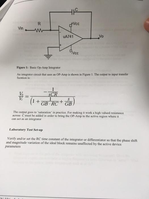 Solved: Vcc Vin UA741 Vo Vcc Figure 1: Basic Op-Amp Integr