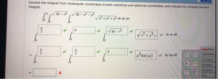 Solved: My Convert The Integral From Rectangular Coordinat